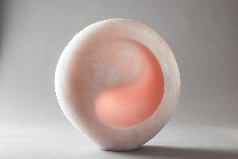 """The Dawn"", pink onyx, 44 x 43 x 20cms"